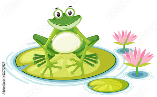 Happy frog on lily pad Canvas-taulu