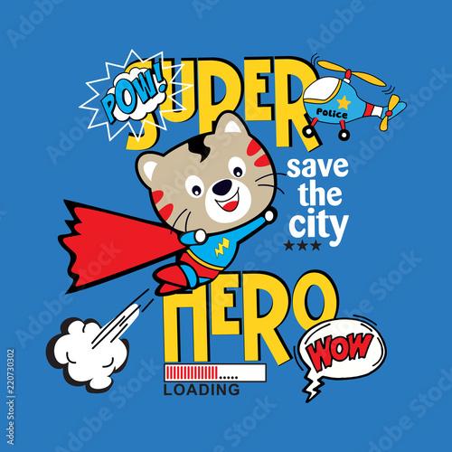 In de dag Cartoon draw funny super hero cat cartoon vector