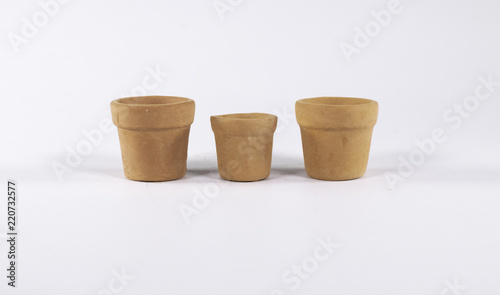 Set Of 3 Round Terracotta Pots Empty Isolated On White