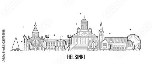 Fototapeta Helsinki skyline Finland city building vector line