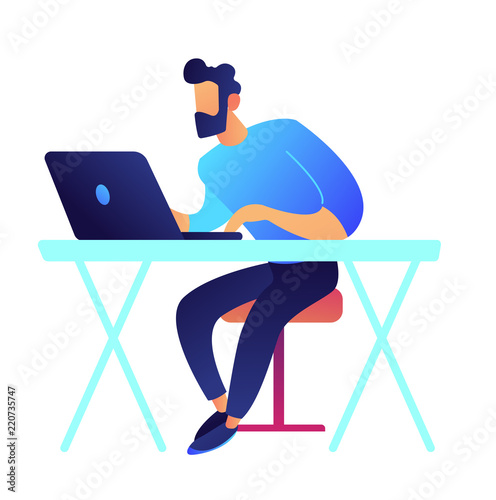 Photo  Gamer with laptop sitting at desk vector illustration