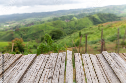 empty bamboo terrace with view mountain nature landscape.
