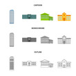 Skyscraper, police, hotel, school.Building set collection icons in cartoon,outline,monochrome style vector symbol stock illustration web.