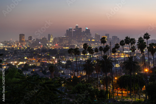 Fotografia Los Angeles downtown buildings evening