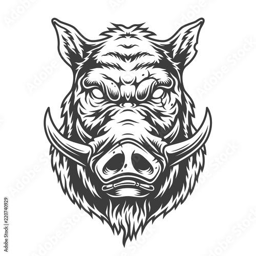Stampa su Tela Boar head in black and white color style