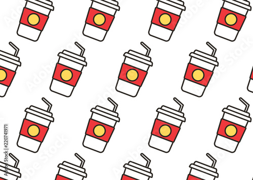 Valokuva  Fast food snacks and drinks flat vector icons