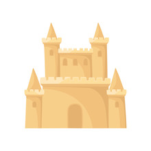 Flat Vector Icon Of Royal Sand Castle. Fortress With Towers. Beach Vacation. Element For Children Book Or Mobile Game