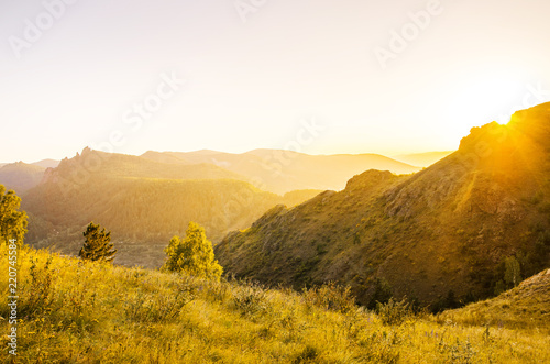Foto op Aluminium Wit Paysage with mountains, hills and green trees.