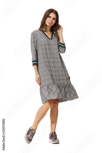 b3e956b072f young caucasian business woman executive posing in bomber checked dress