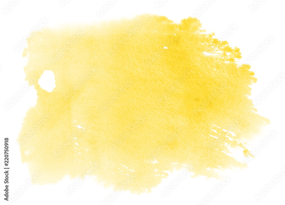 Fototapety, obrazy: Abstract vibrant yellow watercolor on white background.The color splashing on the paper.