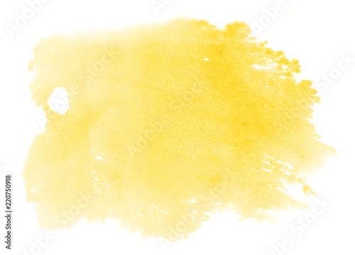 Fototapeta Abstract vibrant yellow watercolor on white background.The color splashing on the paper. obraz