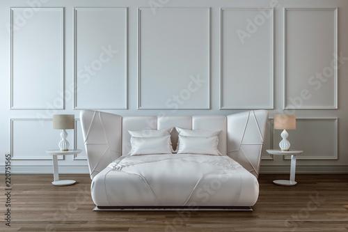 Modern Bedroom Design Interior White Satin Bed Wall Dark Wood Floor