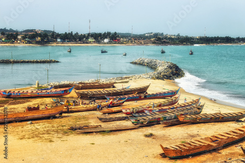Boats on the coast of Cape Coast, Ghana Canvas Print