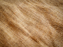 Close Up Of Brown Sackcloth Texture Background. Soft Focus