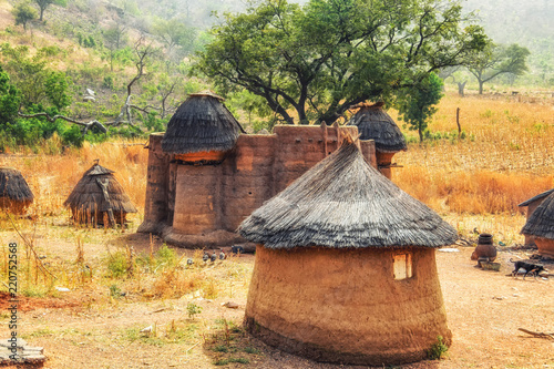 Traditional mud an clay housing of the Tata Somba tribe of nothern Benin and Tog Wallpaper Mural