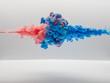 Leinwandbild Motiv 水中の絵の具 ピンク対青②