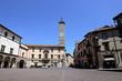 Palazzo Podestà with clock tower at Plebiscito square in Viterbo, Italy