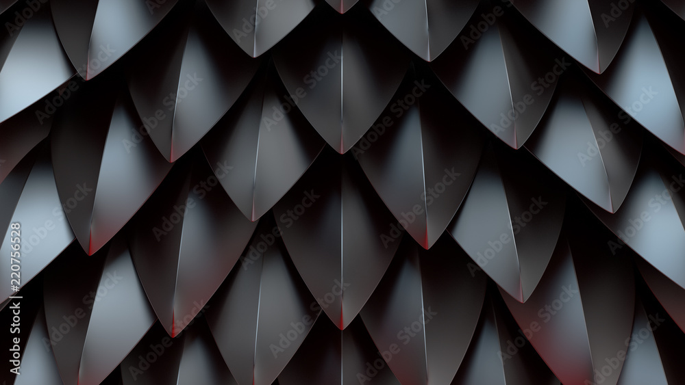 Fototapety, obrazy: 3d render abstract background with spike shapes. Fantasy dragon shell concept. Reflective metal surface.