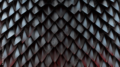 Valokuva 3d render abstract background with spike shapes