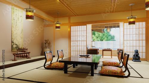 3d rendering japanese interior