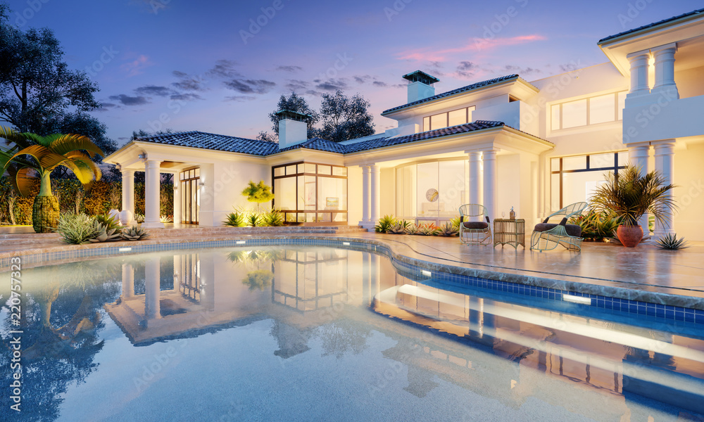 Fototapety, obrazy: Expensive private villa. Swimming pool in a private house. Evening in a country house. Mansion exterior. Luxury villa with swimming pool.