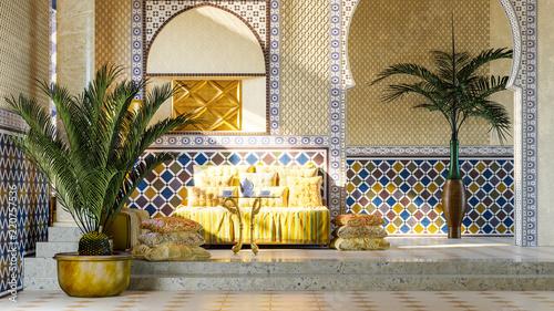 Fotomural Rest room in Moroccan style. 3d render