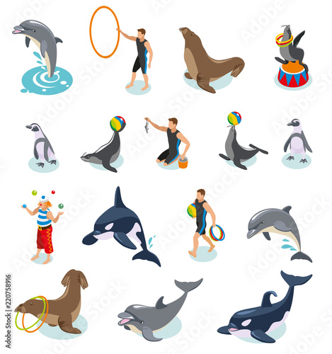 Sea Circus Isometric Icons