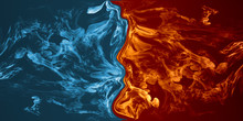 Abstract Fire And Ice Element Against (vs) Each Other Background.