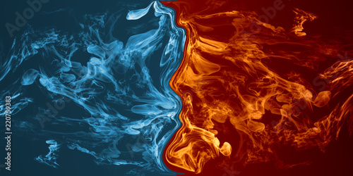 Abstrakcyjny element ognia i lodu na tle przeciw sobie.