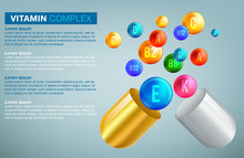 Multi Vitamin Complex Icons. Vitamin A, B Group - B1, B2, B3, B5, B6, B9, B12, C, D, E, K Multivitamin Supplement Logo