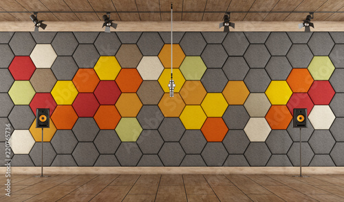 Colorful recording studio with microphone Tablou Canvas