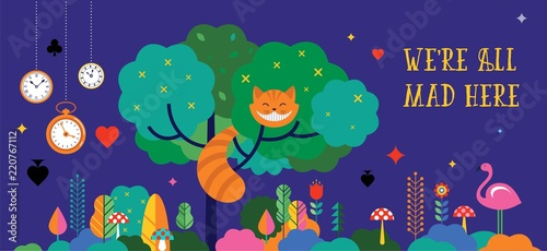 Valokuvatapetti Alice in Wonderland banner, poster and card