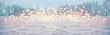 Leinwandbild Motiv Magic winter landscape with snow and golden bokeh lights  -  Banner, Panorama, Background