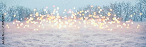 Magic winter landscape with snow and golden bokeh lights  -  Banner, Panorama, B Fototapeta