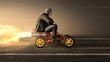 canvas print picture - Mann auf Tretauto mit Raketenantrieb