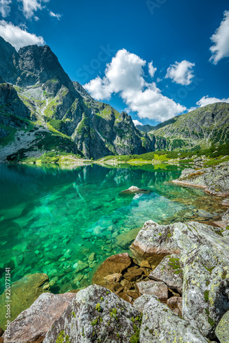 Fototapeta Black lake under Rysy peak, Tatra Mountains, Poland obraz