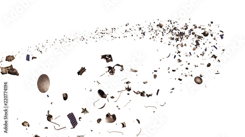 Photo  space debris in Earth orbit, dangerous junk isolated on white background (3d ren