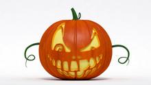 Halloween, Pumpkin Jack-o-lantern Evil Smiling. 3d Illustration