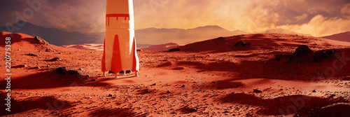 landscape on planet Mars, spaceship landing on the red planet's surface (3d space illustration banner)