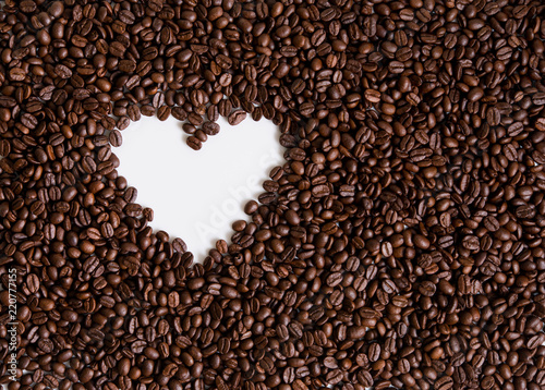 Stampa su Tela love of coffee, symbol of love, shape of heart from coffee beans