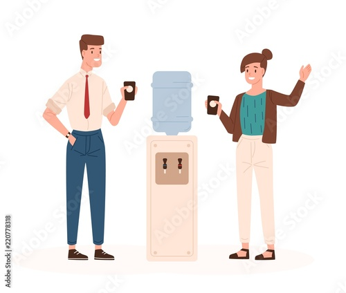 Pair of man and woman standing beside office cooler, drinking water and talking to each other or chatting Wallpaper Mural