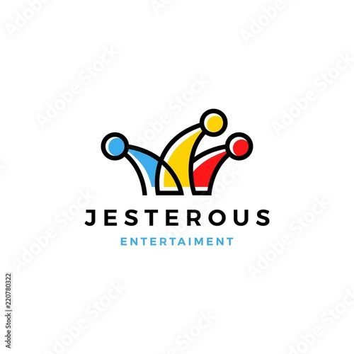 jester hat logo vector icon line outline monoline Wallpaper Mural