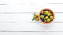 Olives In A Plate And Rosemary...