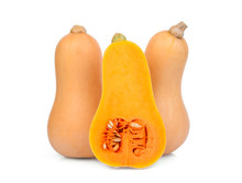 Two Whole And Half Butternut Squash Isolated On White Background