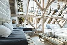 Rustic Open Floor Interior Roo...