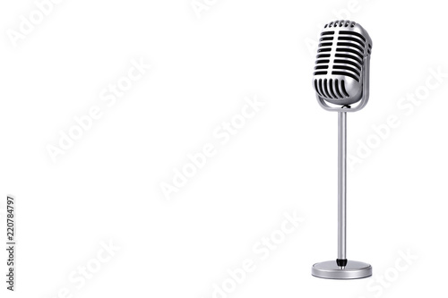 Obraz Retro microphone isolated on white background - fototapety do salonu