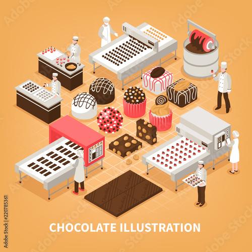 Tuinposter Hoogte schaal Chocolate Manufacture Vector Illustration