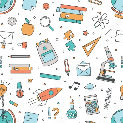 Fotomural Modern seamless pattern with school supplies on white background