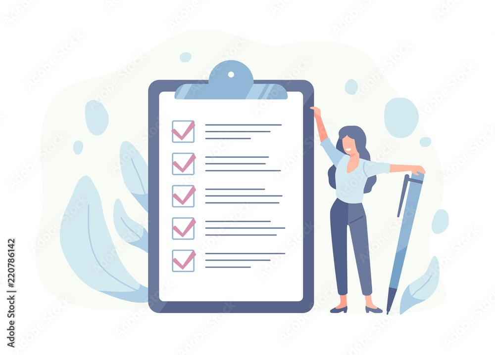 Fototapeta Happy woman standing beside giant check list and holding pen. Concept of successful completion of tasks, effective daily planning and time management. Vector illustration in flat cartoon style.