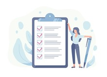Happy Woman Standing Beside Giant Check List And Holding Pen. Concept Of Successful Completion Of Tasks, Effective Daily Planning And Time Management. Vector Illustration In Flat Cartoon Style.
